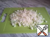 Chop the onions into a bowl and fry in butter.