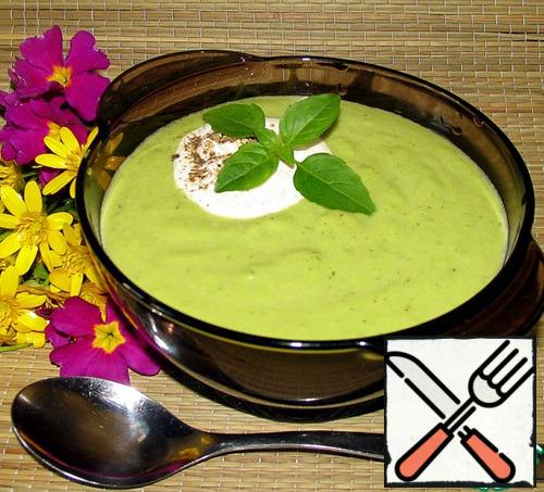 In soup - puree on desire can be add sour cream and ground pepper. Garnish with greens.