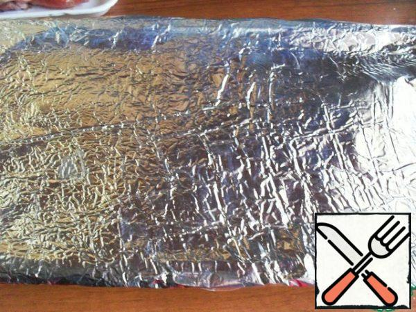 The printing form foil and put in a preheated high oven for 15 minutes.