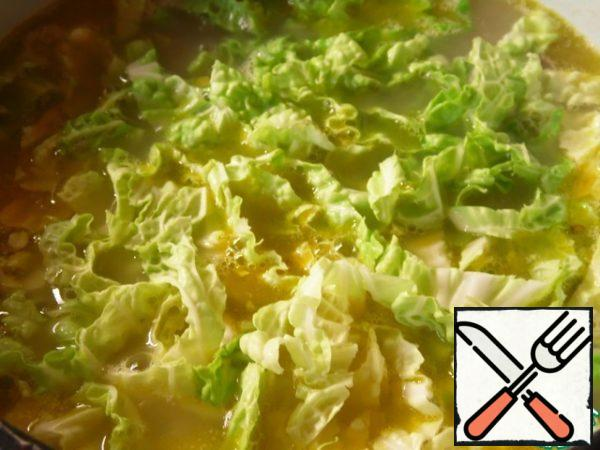 Add chopped chinese cabbage , cook for another 5 minutes. Allow to stand, covered for 20-25 minutes.