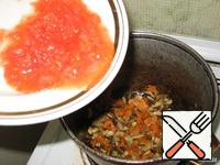 Tomato grate and add to vegetables.