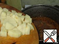 Add the diced potatoes. Use the seasoning or add salt.