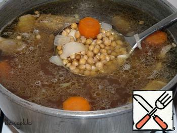 In fifteen minutes put chickpeas soaked (no water, drain the water) and carrots, cut washers. Allow to boil for about an hour on low heat.