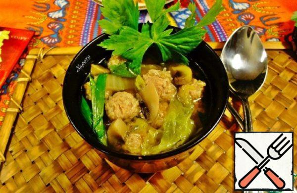 Thai Soup with Pork Meatballs Recipe