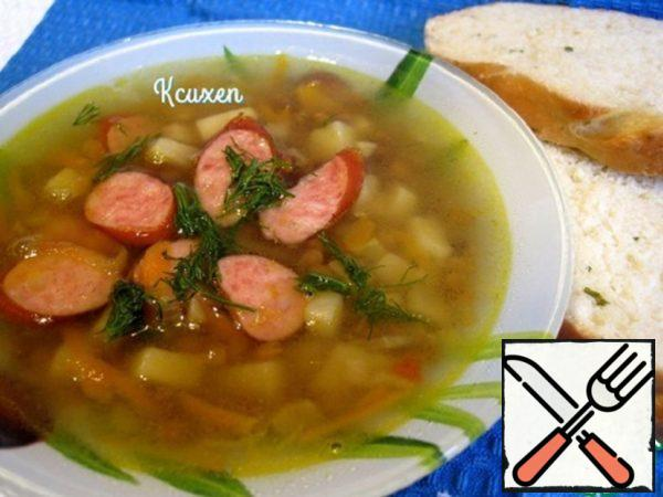 Lentils Soup with Hunting Sausages Recipe