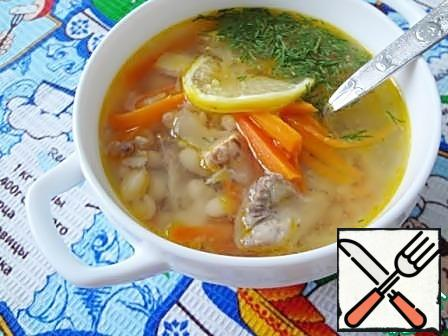 When serving the soup put a slice of lemon, sprinkle with herbs. Very gentle soup turns out.