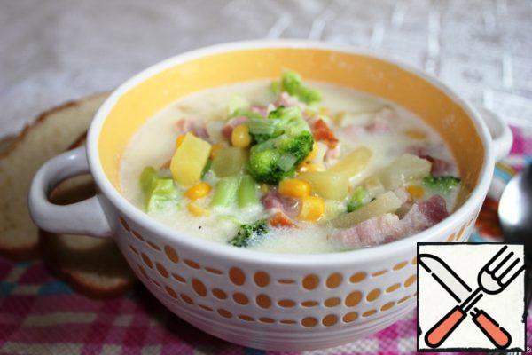 Cream Soup with Broccoli and Bacon Recipe