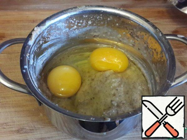 Add eggs and whisk to mix the omelet mass.
