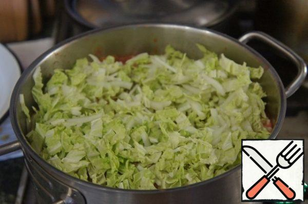 Bring to a boil, add the beans and the cabbage, cut noodles. Add salt and boil for 10 minutes.