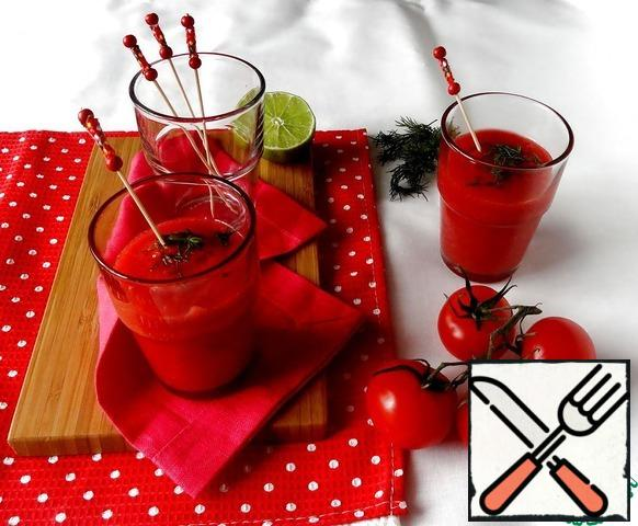 Chill gazpacho in the refrigerator. Can be served in cups, if desired, a sprinkle of olive oil.