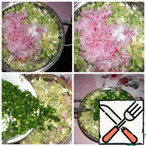 All products salt to taste and mix well. Add the mixture of green onions and dill and stir again.