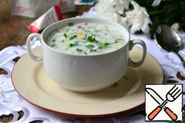 Pour all prepared mixture of yogurt and mineral water. Salt to taste. Ready soup to fill with sour cream.