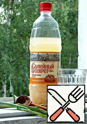 This is our main ingredient without which this okroshka is not okroshka. White kvass.