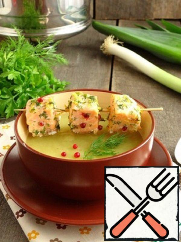 Potato Puree Soup with Salmon Recipe
