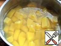 Potatoes (2 large) for speed clean and cut into pieces, pour water and put to boil.