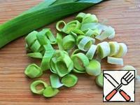 Leeks cut into rings.