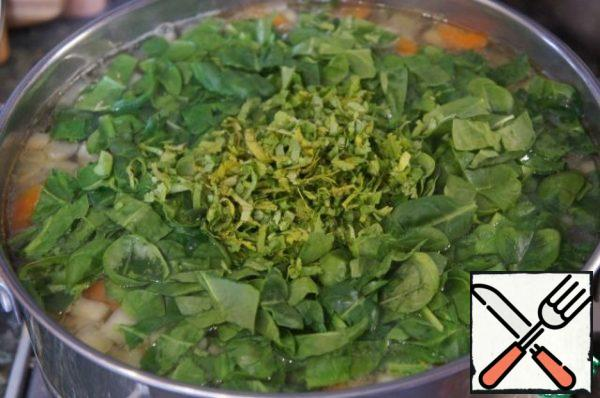 5 minutes before finished cooking add the spinage and coriander.