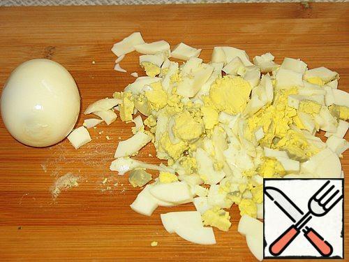 Eggs cut into cubes.
