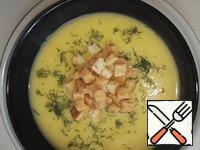 Serve soup with herbs and croutons, you can add sour cream.