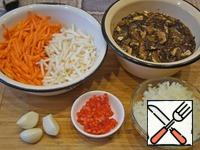Dry mushrooms in advance soak in warm water for a couple of hours, then cut into large pieces. Small chop the hot pepper. Grind onion, carrots and celery and chop sticks, potatoes cut into small cubes.