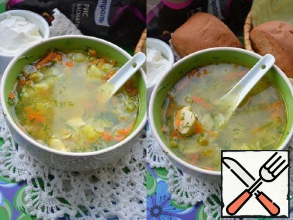 Chicken Soup with Rice and Peas Recipe