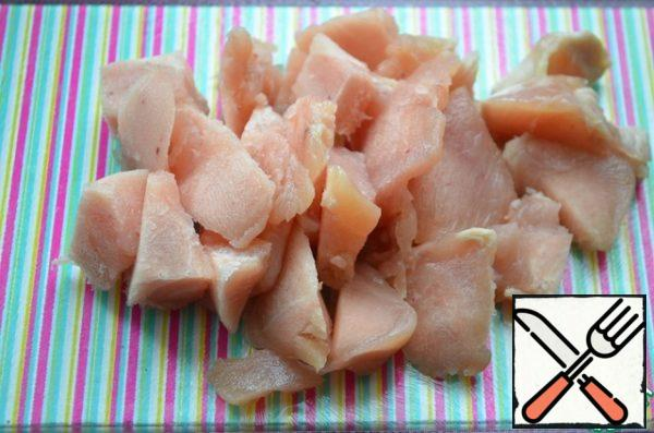 Chicken fillet cut in small pieces
