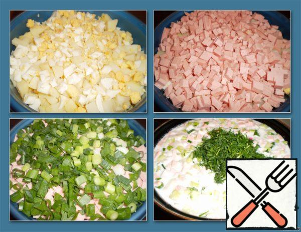 Boiled eggs peel and finely chop, finely chop sausage, onion and dill chop.