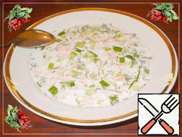 Okroshka on the Water and Sour Cream Recipe
