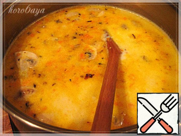 Add the roasting to the soup and cook until potatoes are ready. And at the very end add in the soup melted cheese, stirring until it dissolves. I cooked a little after the soup was ready to make it a little thicker.