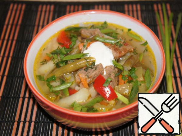Serve soup with chopped herbs, green onions and sour cream!