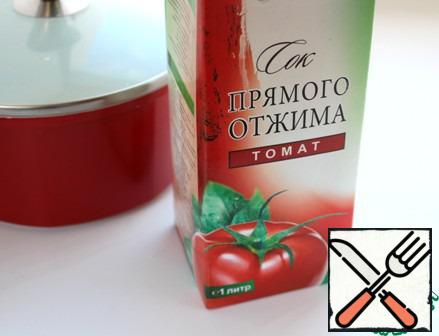 Put all meats in a pot, pour tomato juice. Cook for 10 minutes over a high heat, 10 minutes on slow and let stand 10 minutes. Tomato juice can be diluted with water.