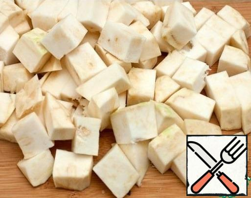 Cut into cubes root celery.