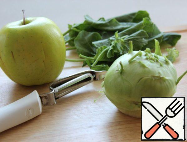 Apple and kohlrabi wash, young leaflets postpone.