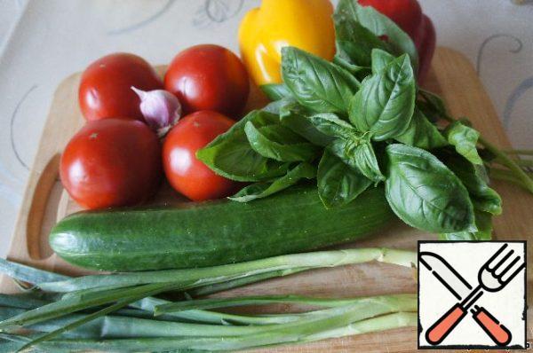 Prepare vegetables, wash.