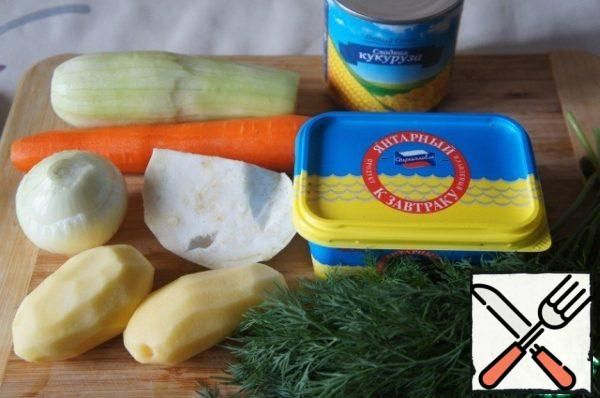 Prepare the products. Vegetables wash and to clear.