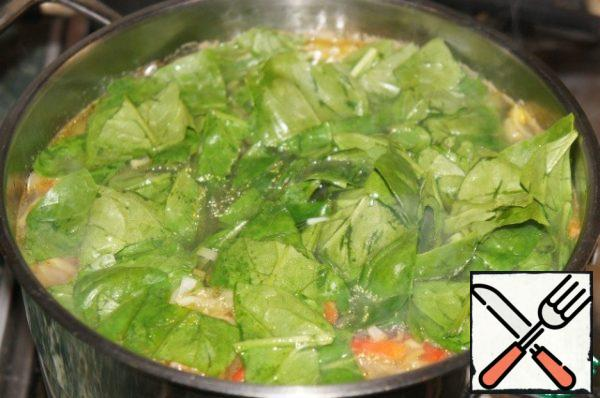 Add the spinach to the soup, add Bay leaf.
