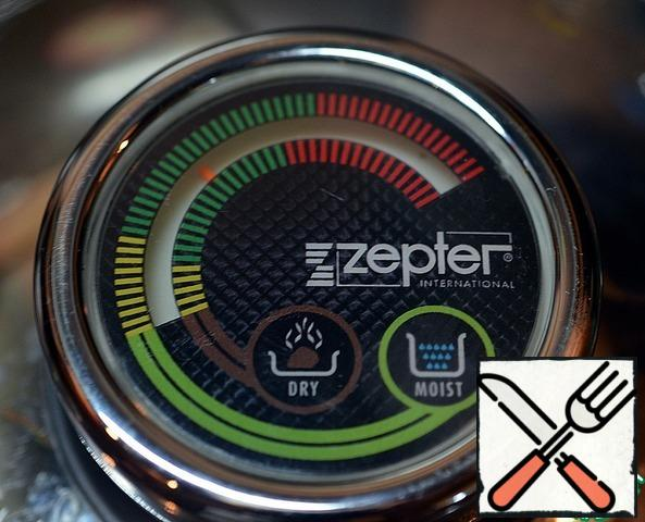 Cover with a lid. The arrow must be in the middle of the green field. Due to the unique Zepter technology, smells and juices of dishes in the pan and in the steamer are not mixed, each dish is prepared by itself. After 20 minutes turn off the oven and leave with the lid closed for another 15 minutes.