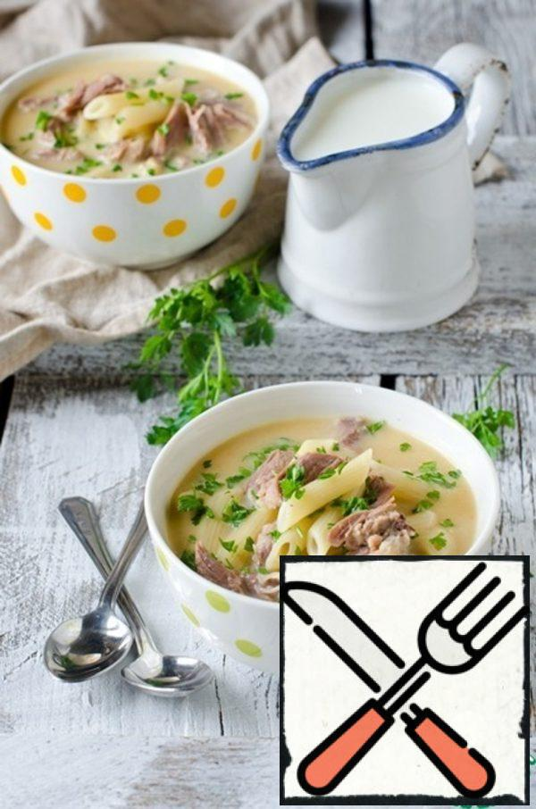 Chicken Cream Soup with Noodles Recipe