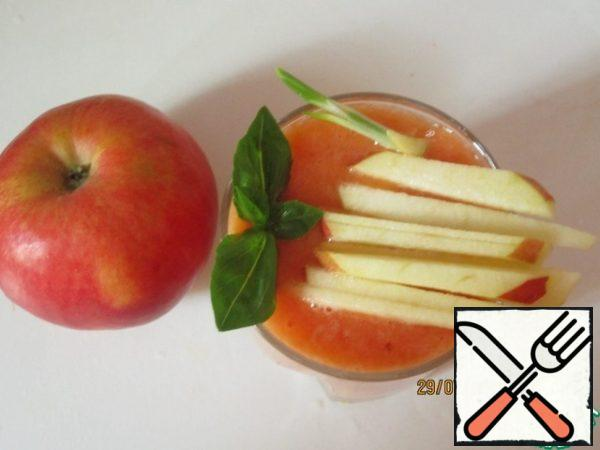 To decorate gazpacho with apple strips and parsley.