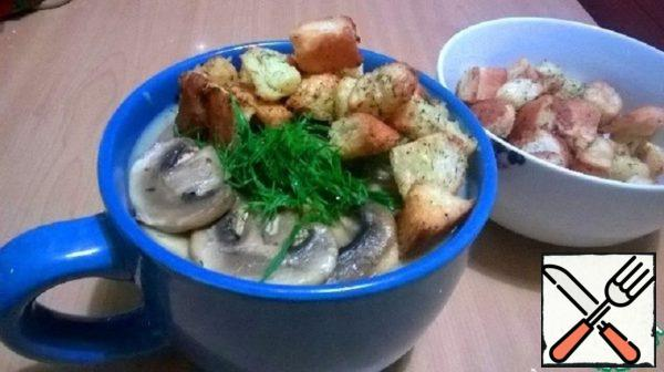 Potato and Mushroom Cream Soup with Croutons Recipe