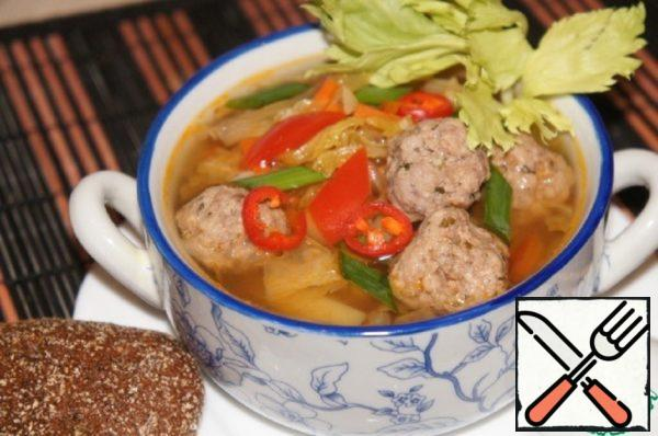 Soup with Chinese Cabbage and Meatballs Recipe