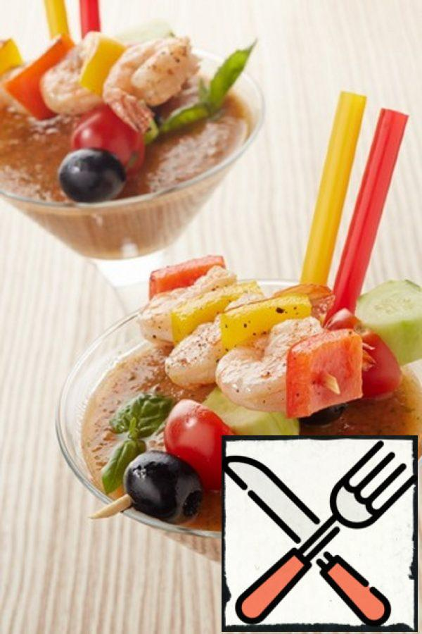 Gazpacho with a Skewer of Shrimp Recipe