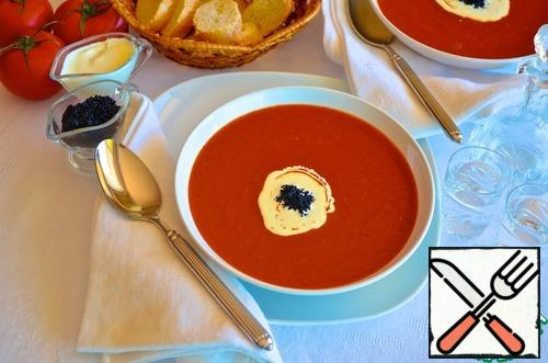 Before serving decorate with sour cream and caviar (substitute). Serve with warm white bread or rolls.