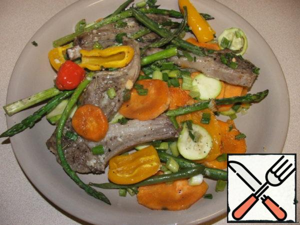Lamb Ribs baked with Vegetables and Sweet Potatoes Recipe
