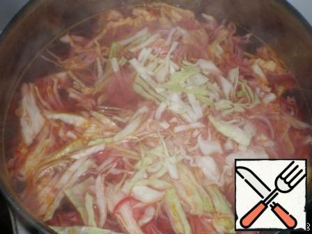 Meanwhile, boil the broth, put to it 4 tbsp of sauteed vegetables and lay the cabbage. Cook under the lid for 7 minutes.