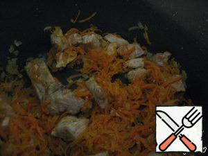 Onion also chop together a carrot to add in the meat (fry for about 15 minutes)