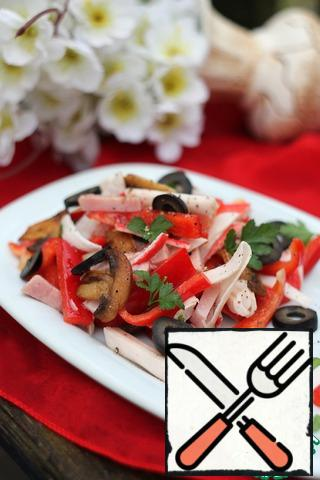 Put the salad on a portion plate, decorate with mushrooms, sliced rings of olives and herbs.