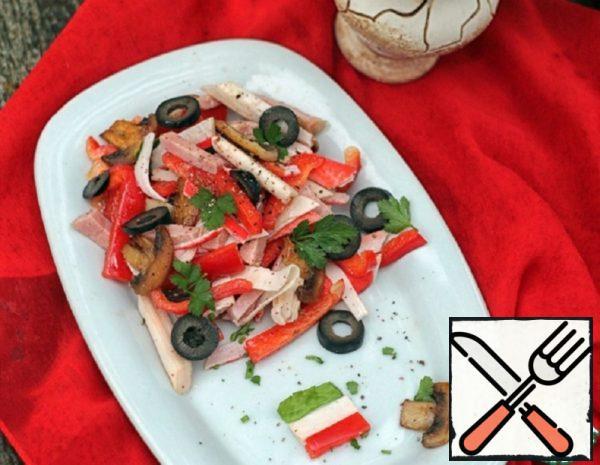 Light Salad with Mushrooms and Crab Sticks Recipe