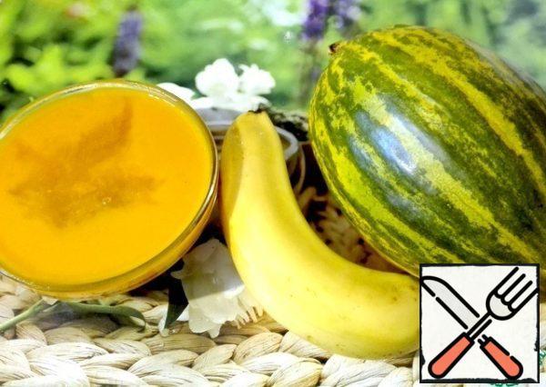 Melon, banana, papaya and passion fruit puree.
