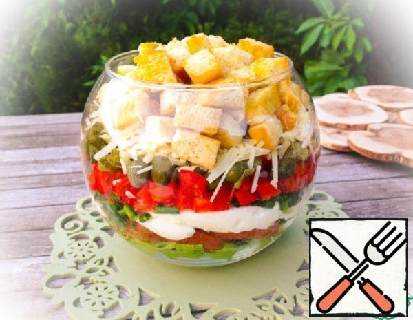 Layer Salad with Croutons Recipe